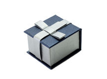Gift. A little blue gift box over white background Royalty Free Stock Photos