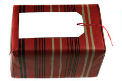 Gift. With White Label and Red Wrapper Stock Image