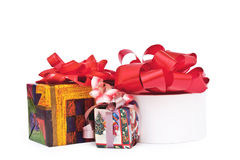 Gift. Isolated three gifts on a white background Stock Photos
