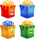 Gift. Happy gift with funny human face Royalty Free Stock Photography