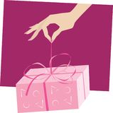 Gift. Hand giving a wrapped gift Royalty Free Illustration
