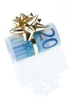 Gift of 20 euro. Money gift of 20 euro isolated on a white background Royalty Free Stock Photos