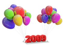 Gift of 2009. Image of 2009 gift on color Balloons. White background Stock Photography