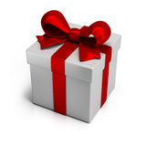 Gift. Box with silk red ribbon. 3d image. White background Stock Photo