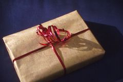Gift. Package tied with ribbon Stock Image