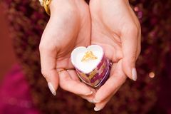 Gift. A very nice ring inside a heart-shape box royalty free stock photography