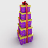 Gift. Five gift boxes are on each other tied a ribbon with a bow on a white background; 3d illustration Royalty Free Stock Photography