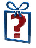 Gift. And question mark sign Stock Images