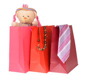 Gift. Group of colorful shopping bags with gifts for whole familly Stock Photography