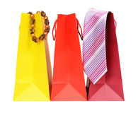 Gift. Group of colorful shopping bags with gifts for him and her Royalty Free Stock Photo
