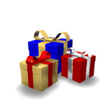 Gift 3D Christmas Gold Blue Stock Photography