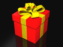 Gift in 3d over a black background Royalty Free Stock Photography