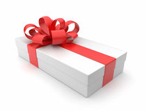 Gift 3D. White box, bow and ribbon Stock Image