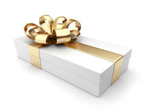 Gift 3D. White box, bow and ribbon. On white background stock illustration