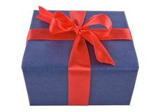 Gift. Blue present with red loop Stock Image