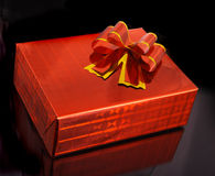 Gift. Red box gift isolate on black Stock Images