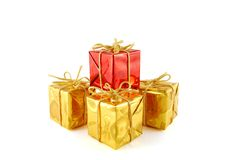 Gift. A few boxes with gift on the white background royalty free stock photo