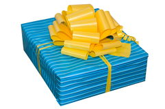 Gift. A box in blue packing with the big yellow bow Royalty Free Stock Image