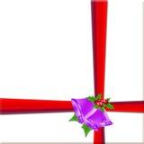 Gift. Red ribbon over white paper vector illustration