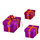Gift. Red ribbon over the gift box stock illustration