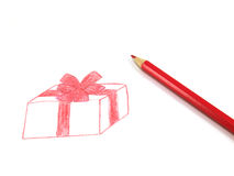 Gift. Drawing of a gift and pencil isolated on a white background Stock Photography