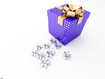Gift. In box, wrapped blue paper with golden small bow Royalty Free Stock Photos