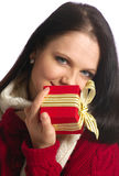 Gift. Girl with a gift on a white background stock photography