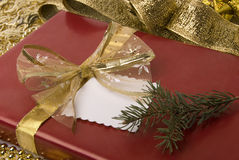 Gift. Red box with golden ribbon and branch of fir Stock Photo