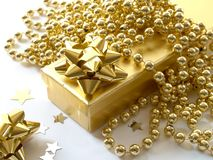 Gift. Golden Gift Stock Photos