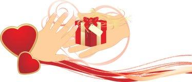 Gift aan de dag van Valentijnskaarten. Romaanse samenstelling Stock Foto