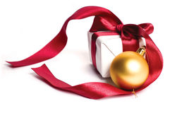 Gift And Christmas Ball Stock Photography