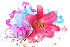 Gift And Lily Royalty Free Stock Images