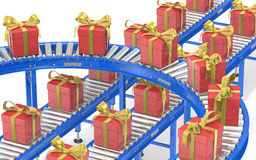 Gift assembly line Stock Images