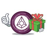 With gift Augur coin mascot cartoon. Vector illustration Stock Photography