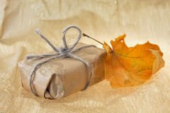 Gift and autumn sheet Royalty Free Stock Image