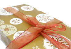 A gift background. Closeup on wrapping gift background Stock Photography