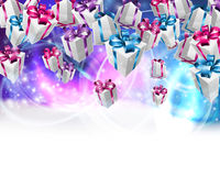 Gift background 2015 B5. Abstract gifts or presents Christmas or birthday header purple blue background. Fades to white at the bottom for easy use as border Stock Photography