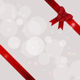Gift background with ribbons and bow. White Cream Festive Gift Background with Ribbons and Bow on Two Corners Stock Photo