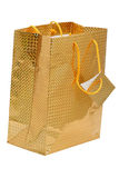 Gift Bag. Paper gift bag gold. Isolated on white background Royalty Free Stock Photography