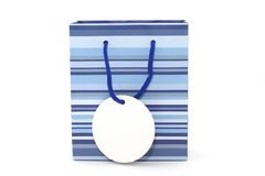 Gift bag. With white label for adding message Royalty Free Stock Photos