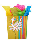 Gift bag. With tissue paper Royalty Free Stock Images