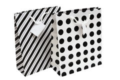Gift Bag. Black and white striped and polka dot paper gift bag Royalty Free Stock Images
