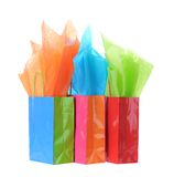 Gift bag. S and tissue isolated on white Royalty Free Stock Photography