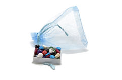 Gift bag with beads Stock Photography