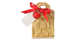 Gift Bag With Blank Tag Stock Photos