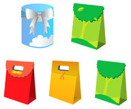 Gift bag and box. From illustration Royalty Free Stock Photography