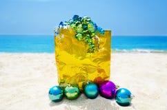 Gift bag with Christmas balls - holiday concept Stock Photo
