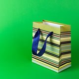 Gift bag. Close up of green striped gift bag Royalty Free Stock Photo
