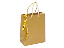 Gift bag with decorative golden tape. Stock Photo