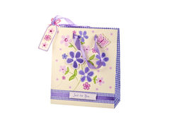 Gift bag with flowers Stock Photography